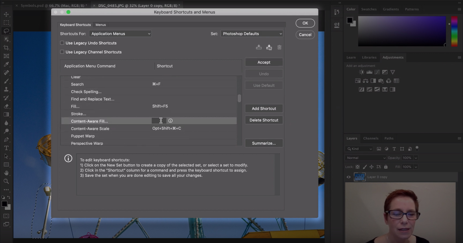 create your shortcut key in photoshop